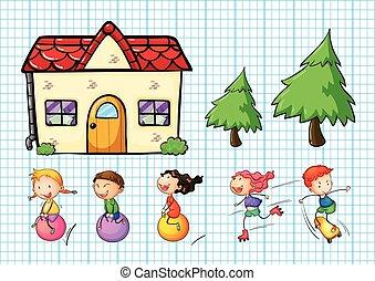 maison, ensemble, enfants jouer