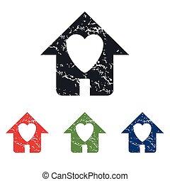 maison, ensemble, grunge, bien-aimé, icône