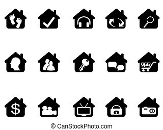 maison, ensemble, icône