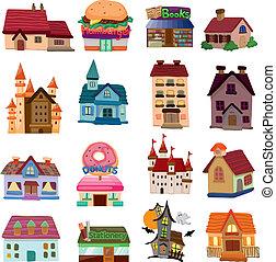 maison, ensemble, icônes