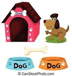 maison, ensemble, illustrateur, chien