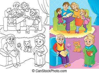 maison, entier, famille, livre coloration