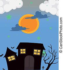 maison, entiers, hanté, lune