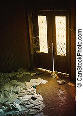 maison, entrée, abandonnés