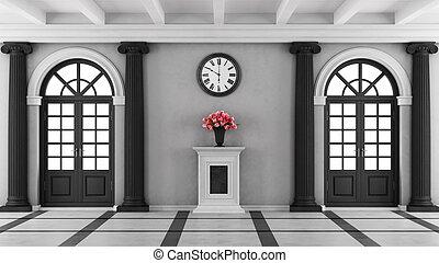 maison, entrée, blanc, noir, luxe