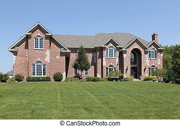 maison, entrée, brique, arqué, luxe