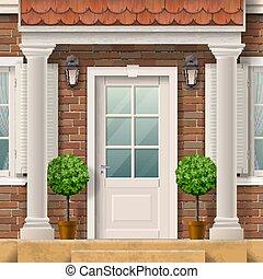 maison, entrée, colonnes