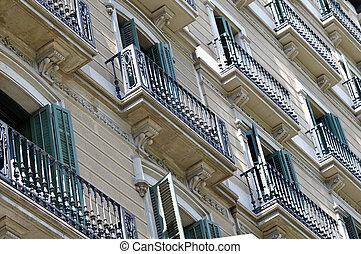maison, espagnol, balcon