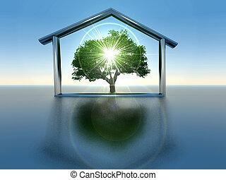 maison, et, arbre