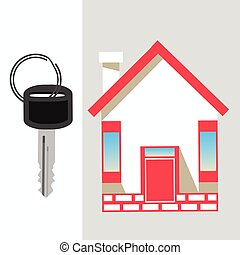 maison, et, key., icône, à, a, rouges, roof., sur, pastel