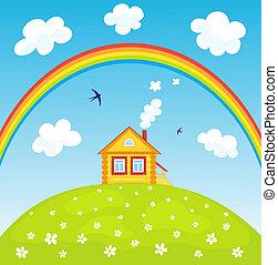 maison, et, rainbow.