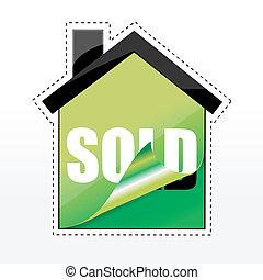 maison, etiquette vendue, forme