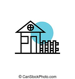 maison, façade, barrière, icône