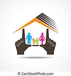 maison, faire, famille, main