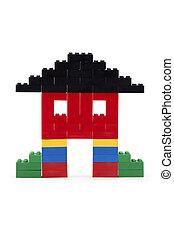 maison, fait, blocs, coloré, lego