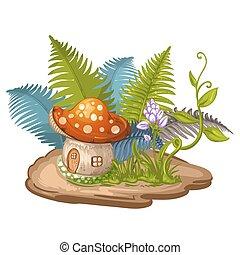 maison, fait, gnome, champignon