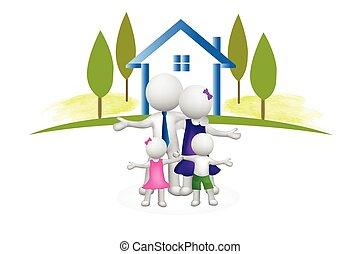 maison, famille, 3d, logo, gens