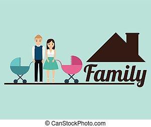 maison, famille, affiche