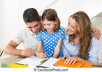 maison, famille, coloration