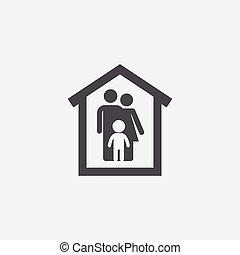 maison, famille, icône