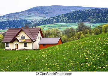 maison, famille, montagnes