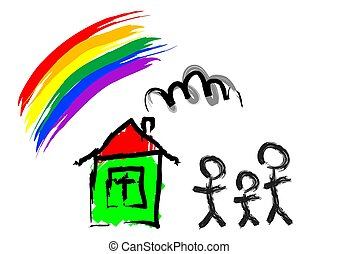 maison, famille, une