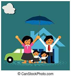 maison, famille, voiture., protection