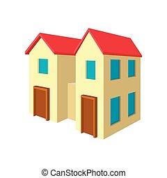 maison, familles, icône, deux, dessin animé