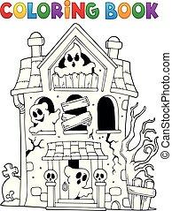 maison, fantômes, coloration, hanté, livre