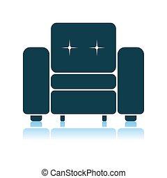 maison, fauteuil, icône