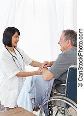maison, fauteuil roulant, sien, infirmière, homme