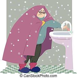 maison, femme aînée, froid