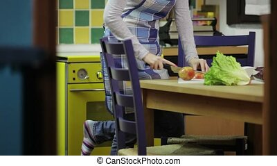 maison, femme, cuisine, jeune