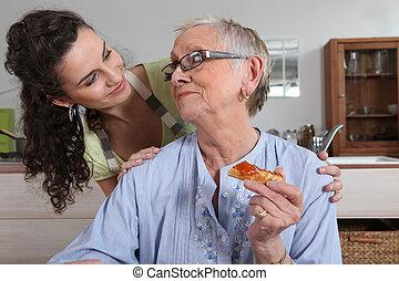 maison, femme, jeune, aide
