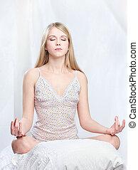 maison, femme, méditer