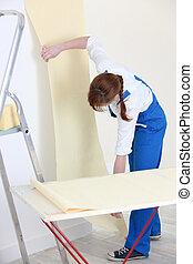 maison, femme, nouveau, papier peint, pendre