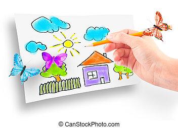 maison, femme, rêve, dessin, main