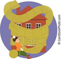 maison, femme, tricot, écharpe