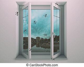 maison, fenêtre, mouchard, moustiques