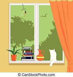 maison, fenêtre, privé