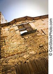 maison, fenêtre, ruiné