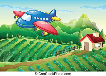 maison ferme, avion, au-dessus
