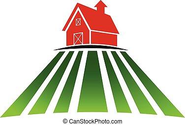 maison ferme, champ, logo