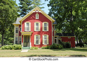 maison ferme, rouges