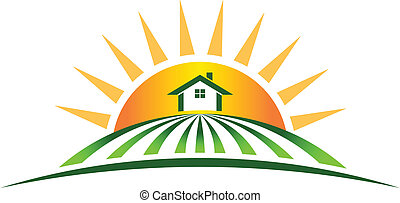 maison ferme, soleil, logo