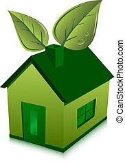 maison, feuilles, vert