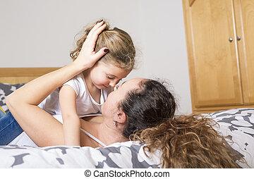 maison, fille, bed., mère