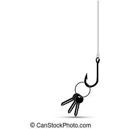 maison, fish, harcelé, clã©, crochet