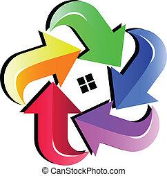 maison, flèches, coloré, logo