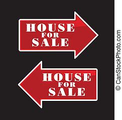 maison, flèches, vente